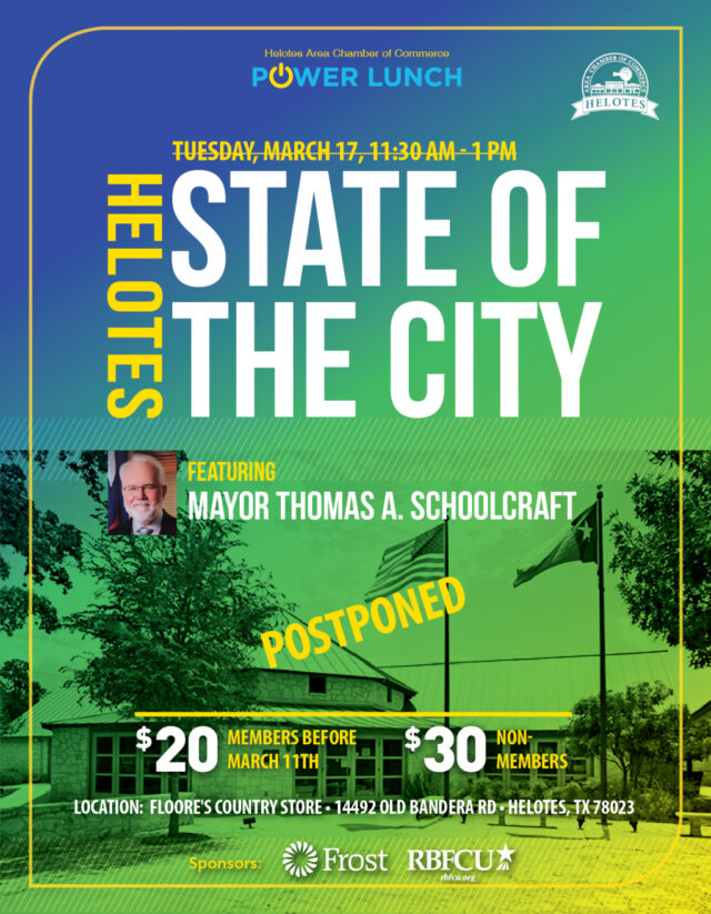 2020 Helotes State of the City Flyer Postponed