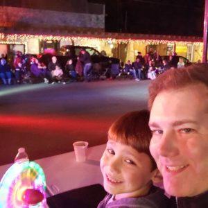 Matt and Xander McCrossen 2019 Helotes Christmas Parade Judge Booth